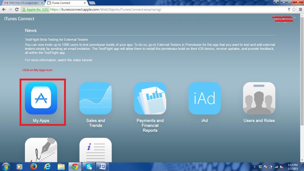 TestFlight to iTunesConnect