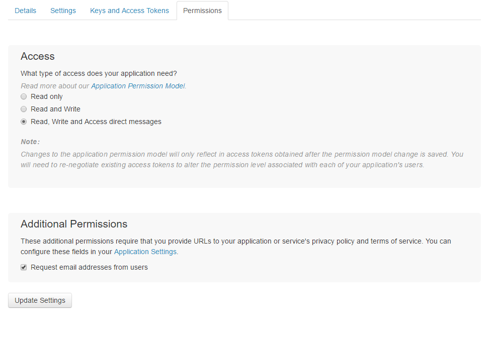 request Twitter for email access