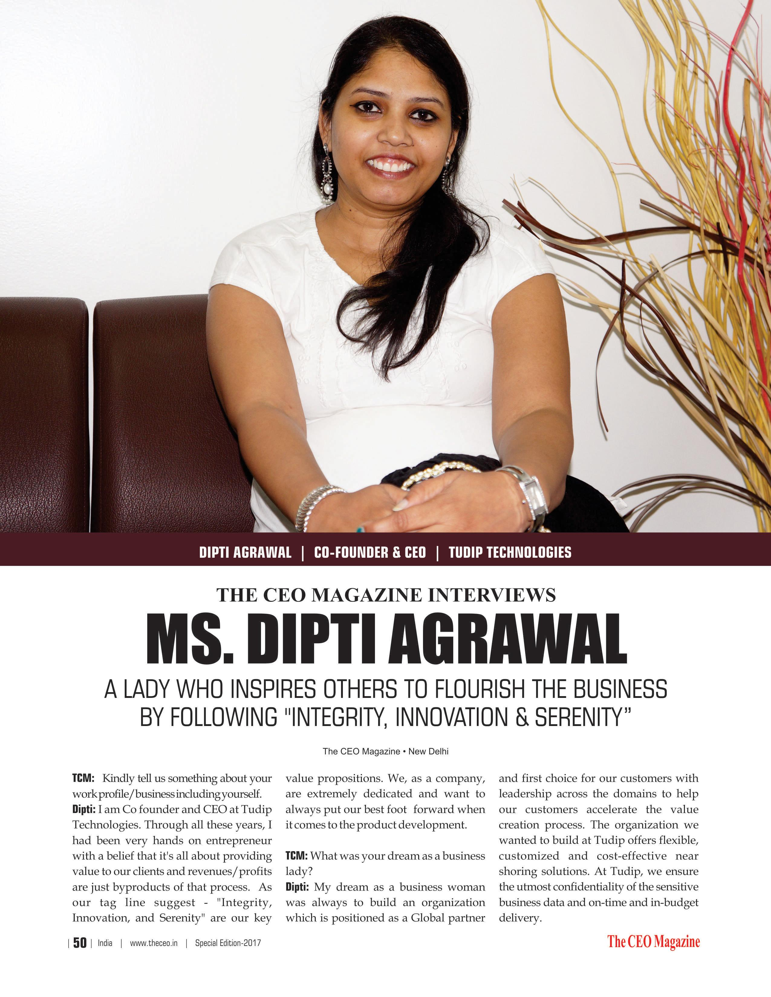 Dipti Agrawal is one of the 25 most Influential Women in India of 2017