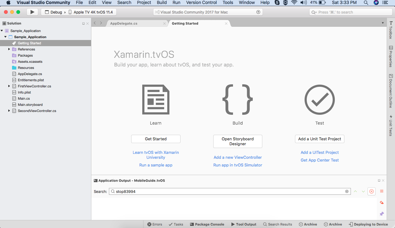 Create new tvOS Application project using Xamarin